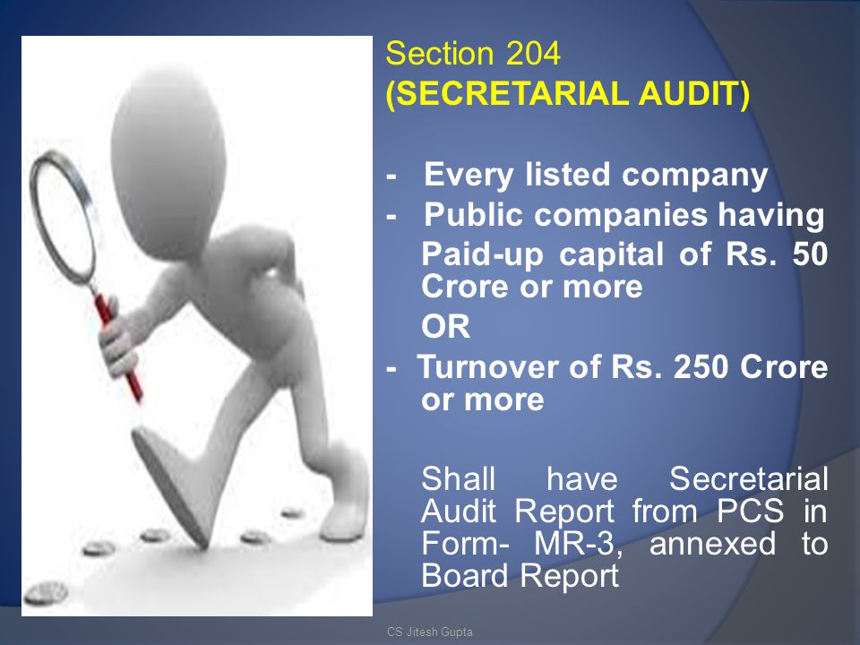 - Public companies having Paid-up capital of Rs. 50 Crore or more OR