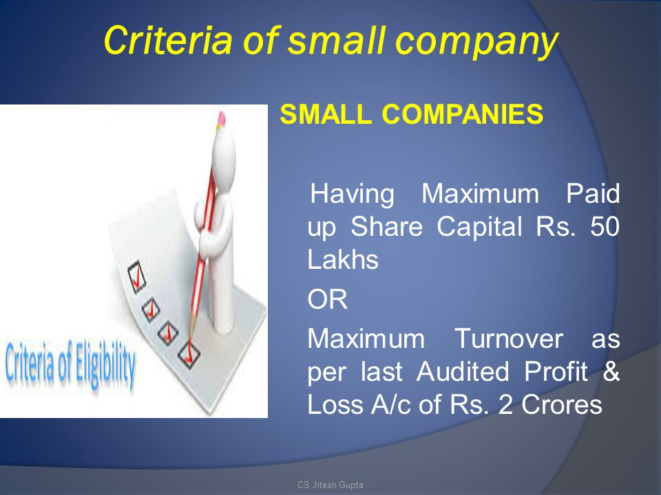 Criteria of small company