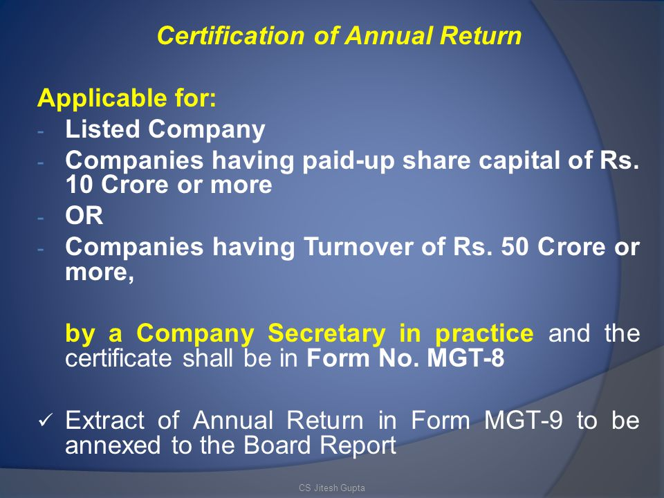 Certification of Annual Return