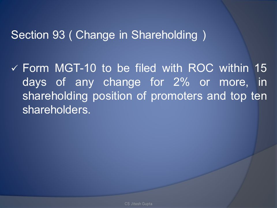 Section 93 ( Change in Shareholding )