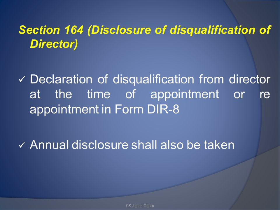 Annual disclosure shall also be taken
