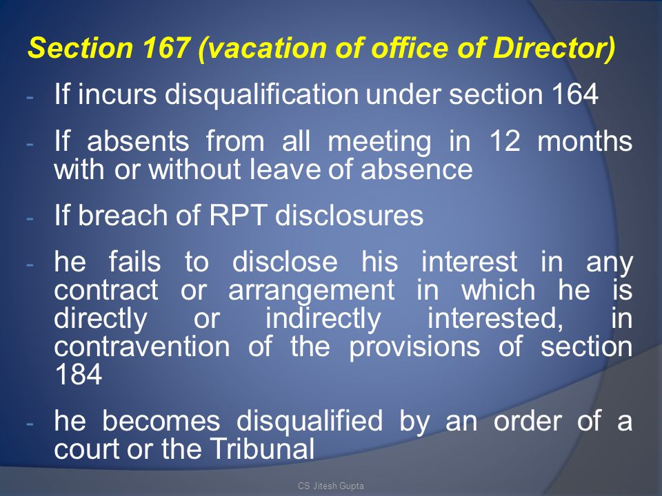 Section 167 (vacation of office of Director)