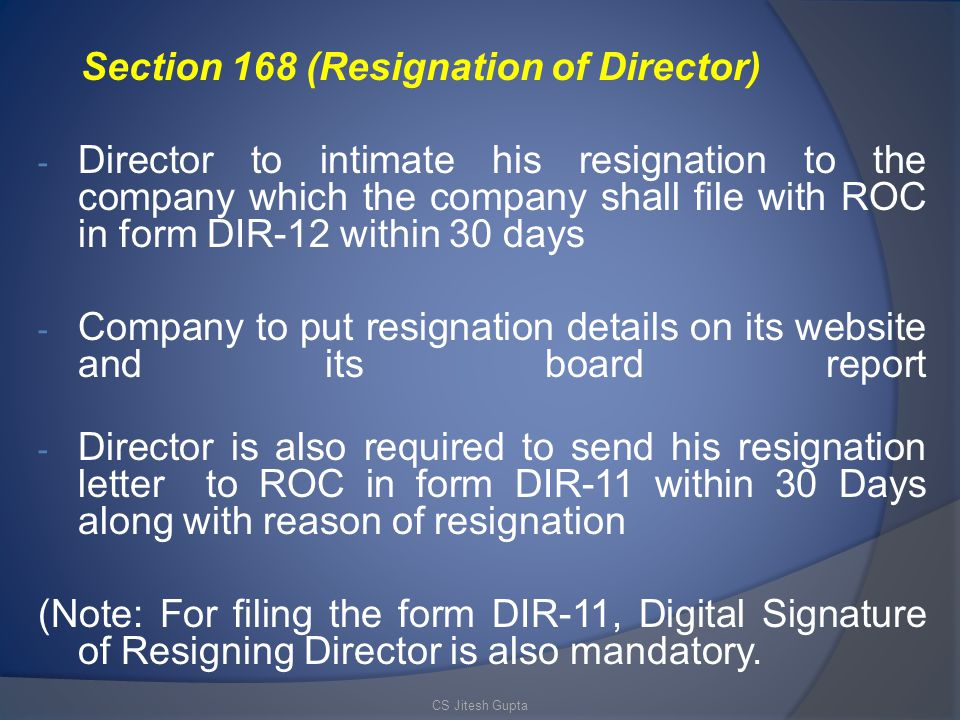Section 168 (Resignation of Director)