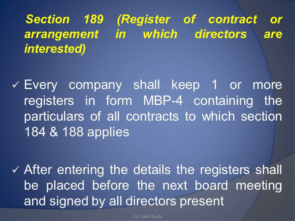 Section 189 (Register of contract or arrangement in which directors are interested)