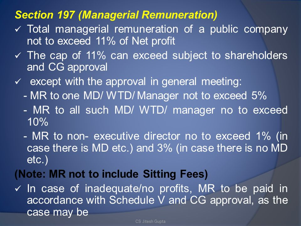 Section 197 (Managerial Remuneration)