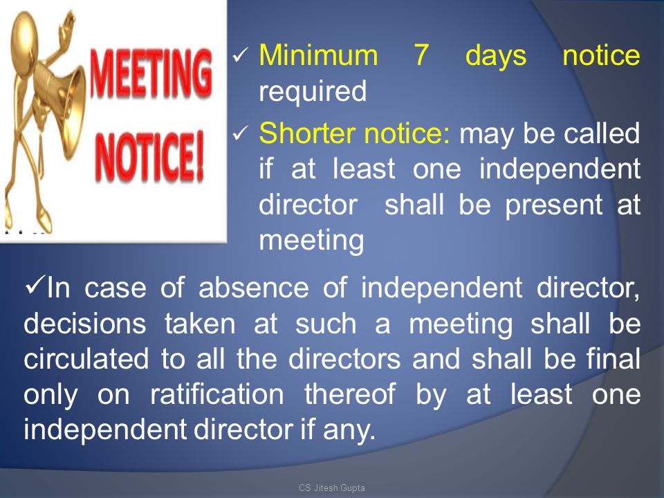 Minimum 7 days notice required