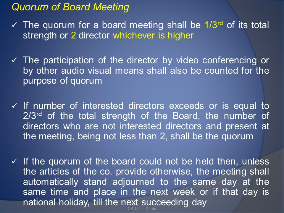 Quorum of Board Meeting