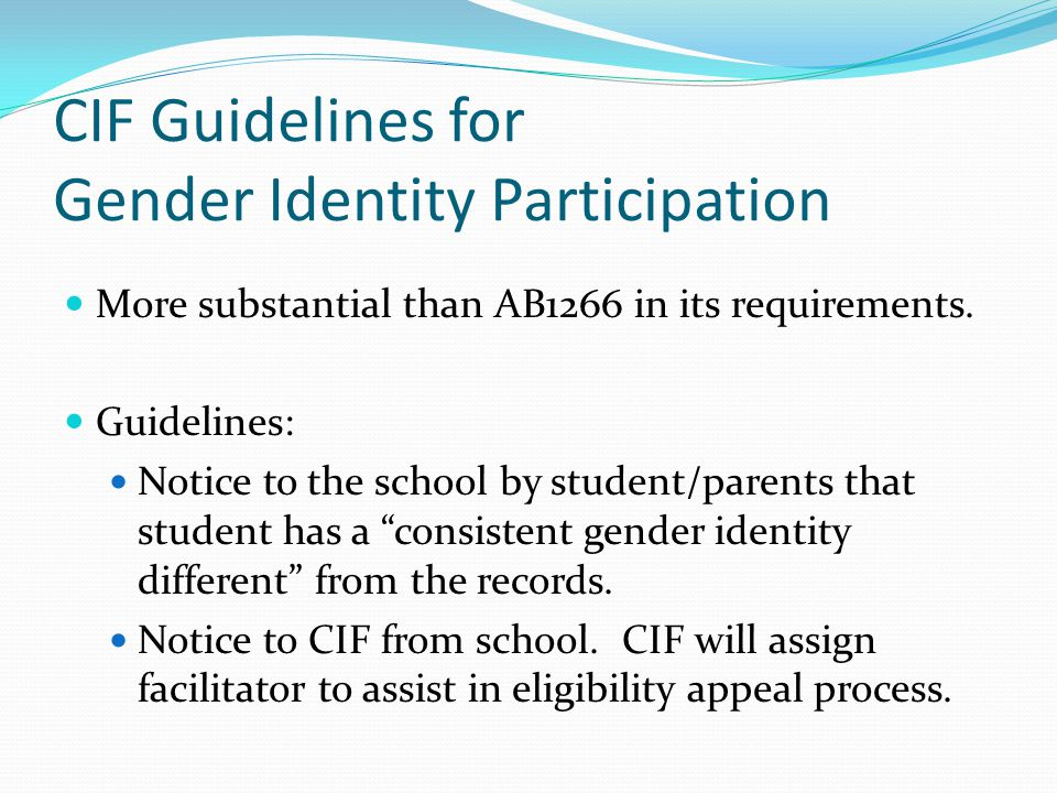 CIF Guidelines for Gender Identity Participation