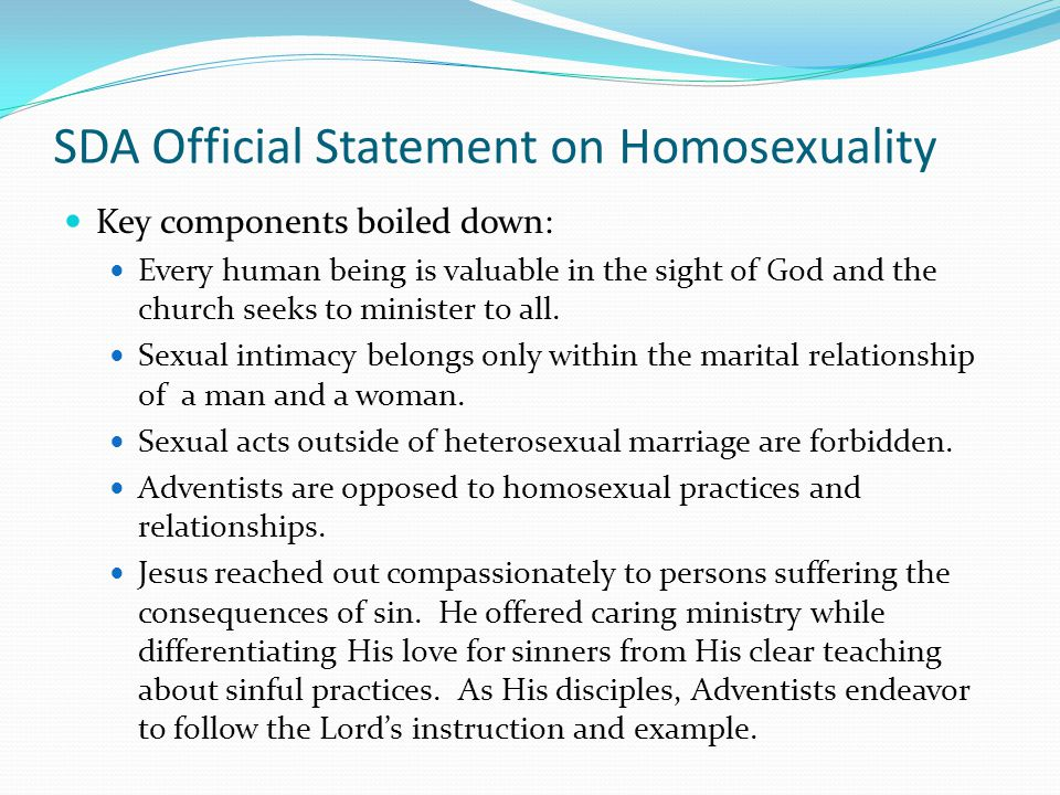 SDA Official Statement on Homosexuality