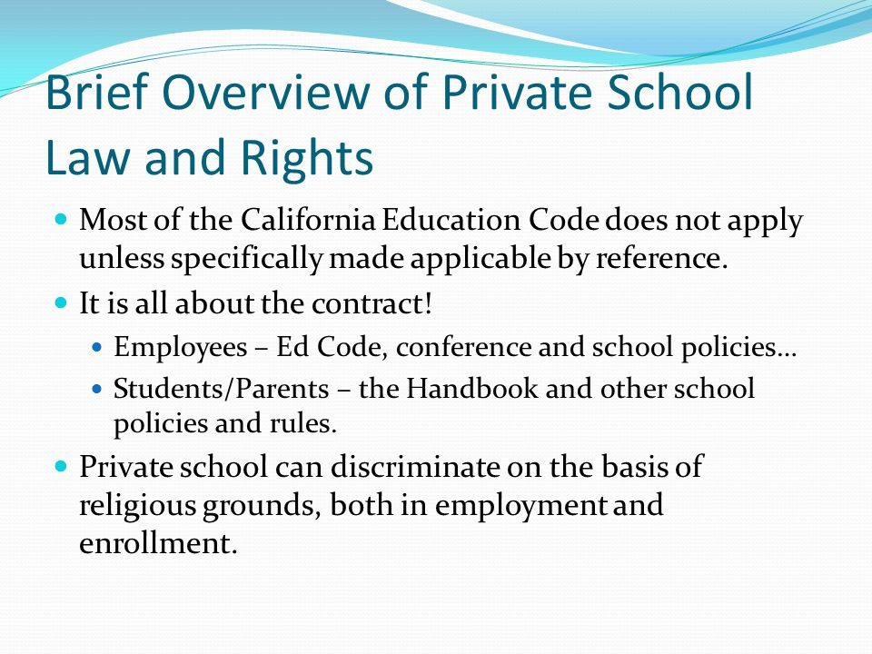 Brief Overview of Private School Law and Rights