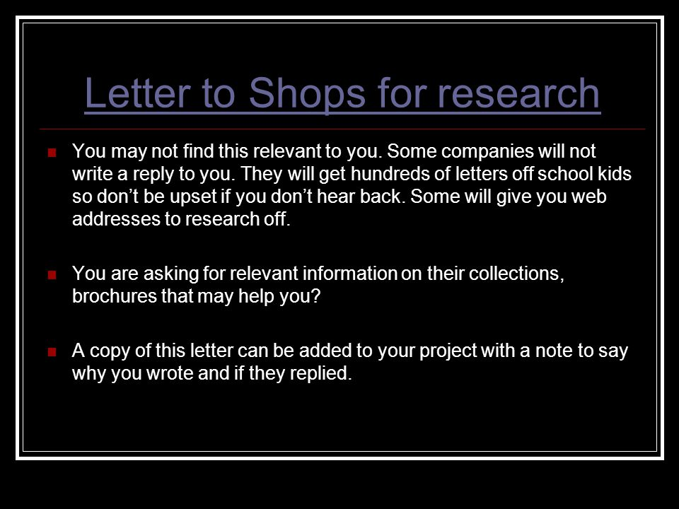 Letter to Shops for research