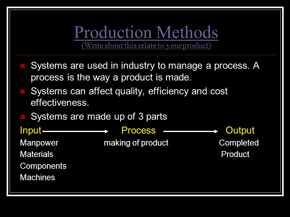 Production Methods (Write about this relate to your product)