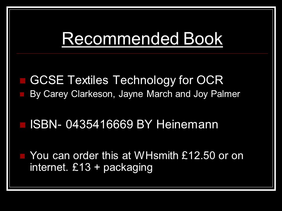 Recommended Book GCSE Textiles Technology for OCR
