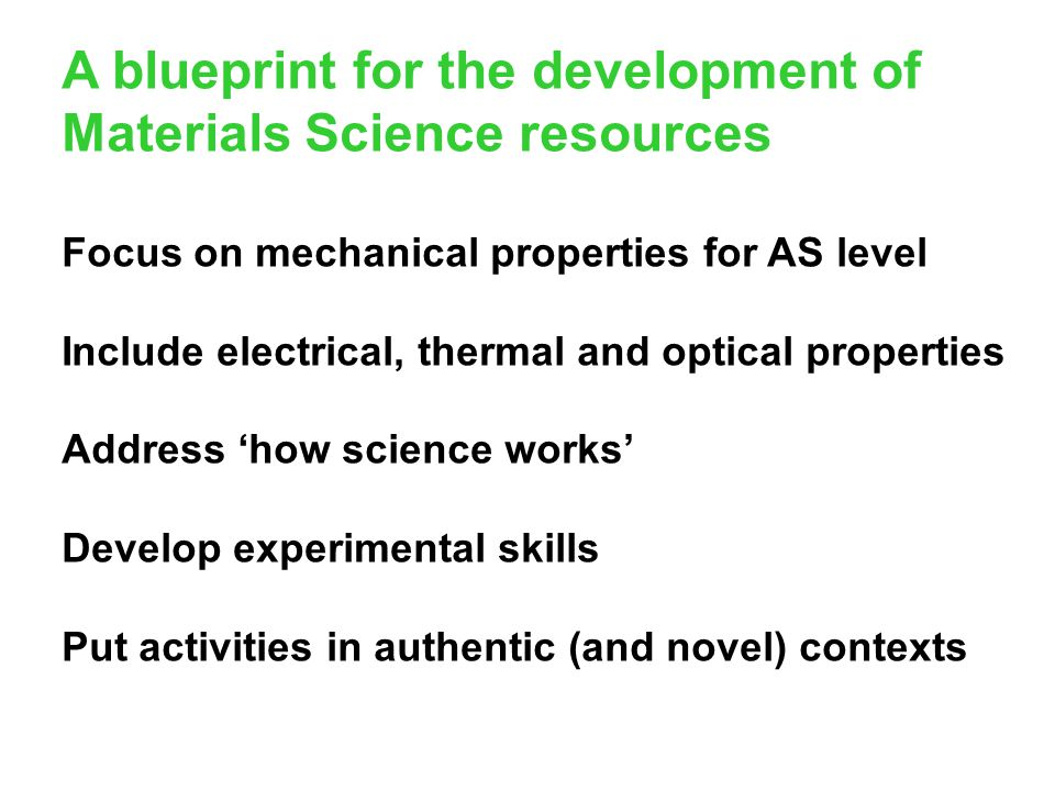 A blueprint for the development of Materials Science resources