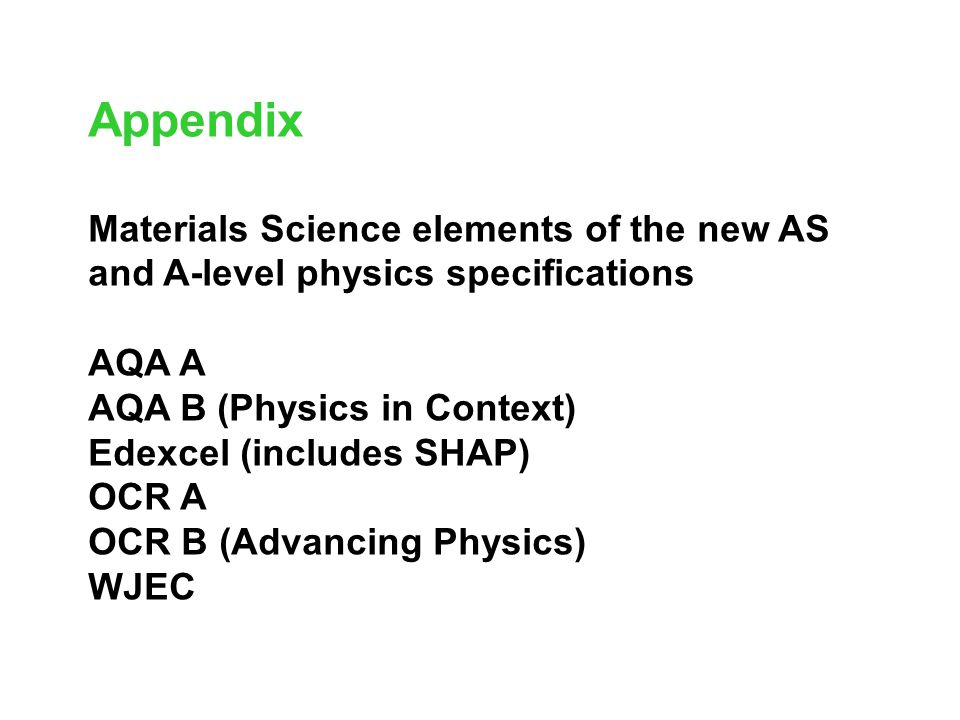 Appendix Materials Science elements of the new AS and A-level physics specifications. AQA A. AQA B (Physics in Context)
