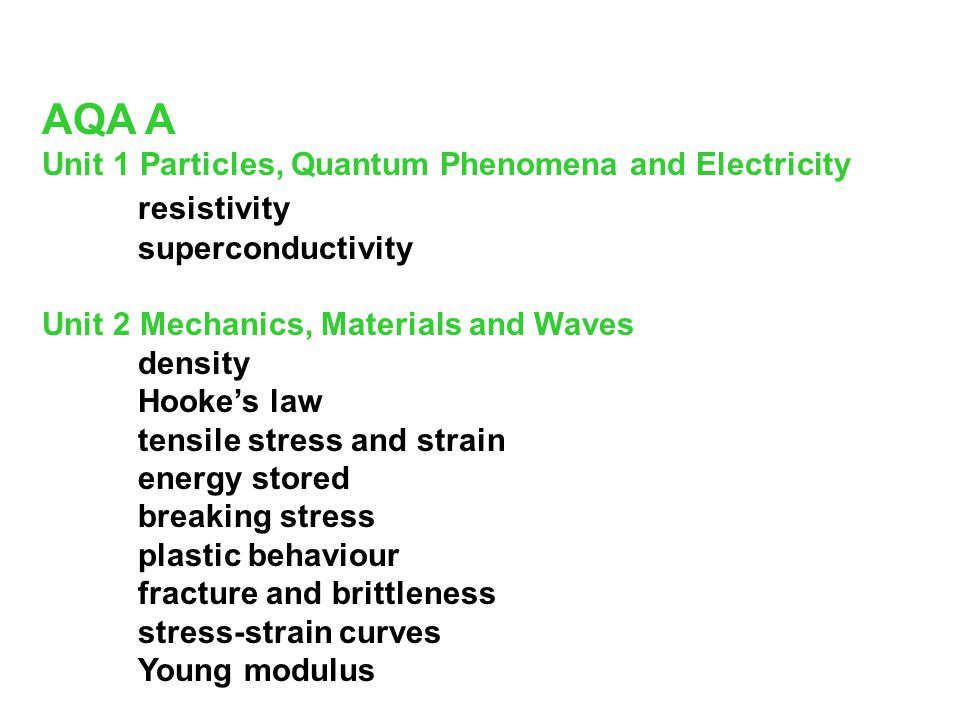AQA A resistivity Unit 1 Particles, Quantum Phenomena and Electricity