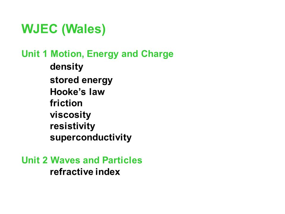 WJEC (Wales) stored energy Unit 1 Motion, Energy and Charge density