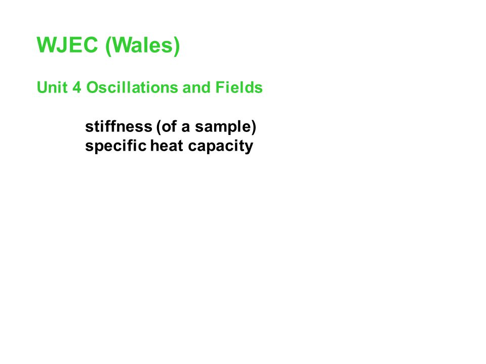 WJEC (Wales) Unit 4 Oscillations and Fields stiffness (of a sample)