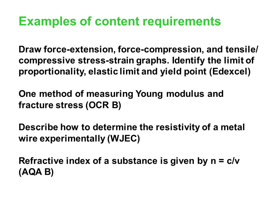 Examples of content requirements