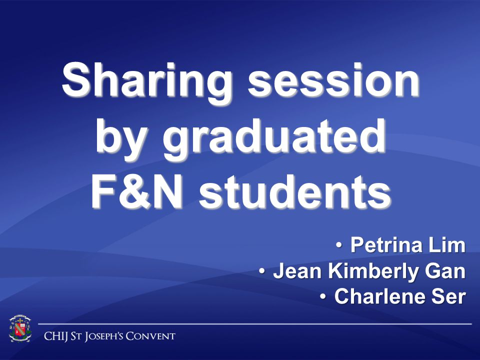 Sharing session by graduated F&N students