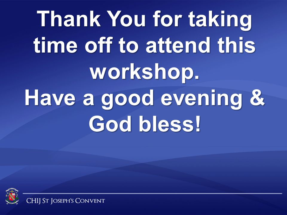 Thank You for taking time off to attend this workshop.
