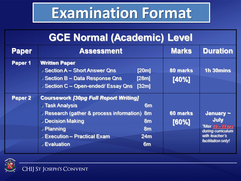 GCE Normal (Academic) Level