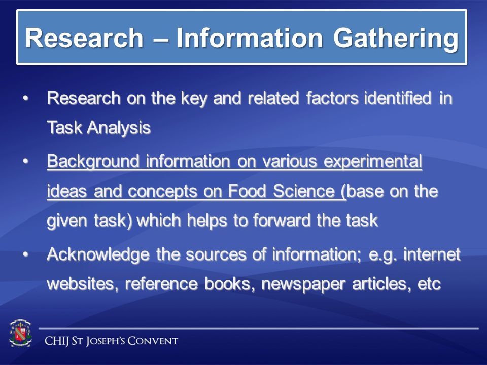 Research – Information Gathering