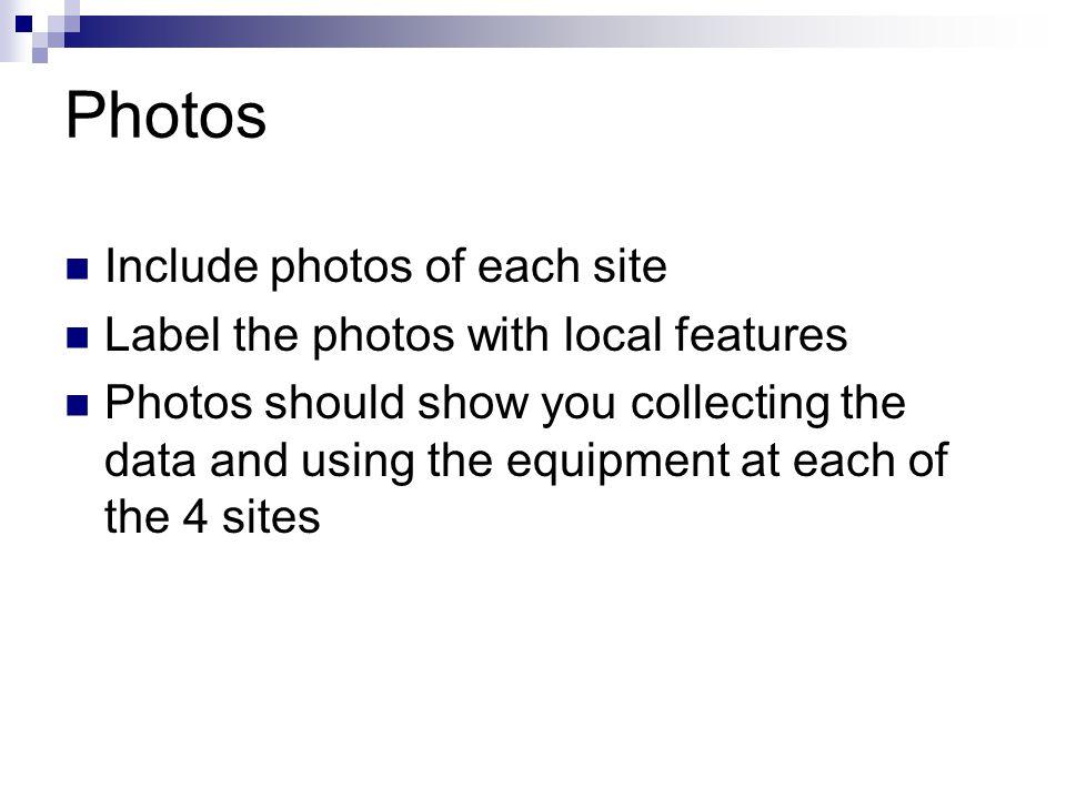 Photos Include photos of each site