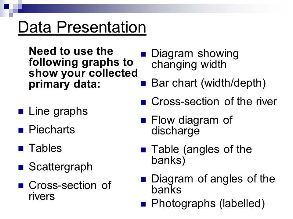 Data Presentation Need to use the following graphs to show your collected primary data: Line graphs.