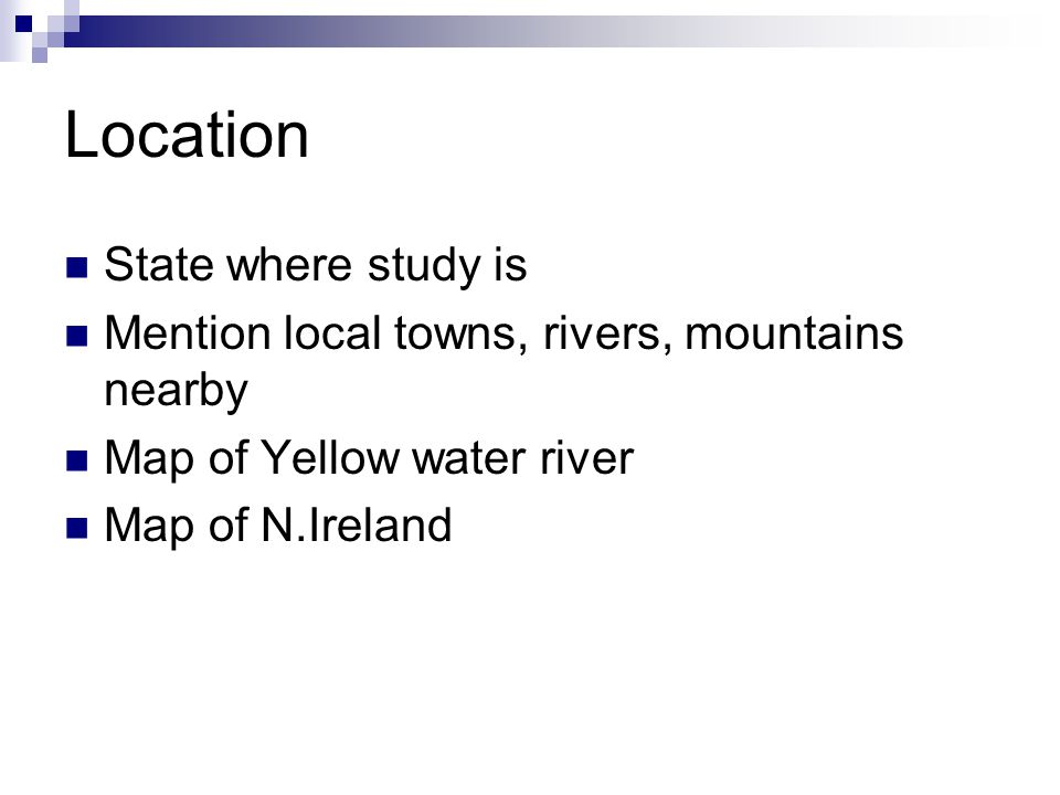 Location State where study is