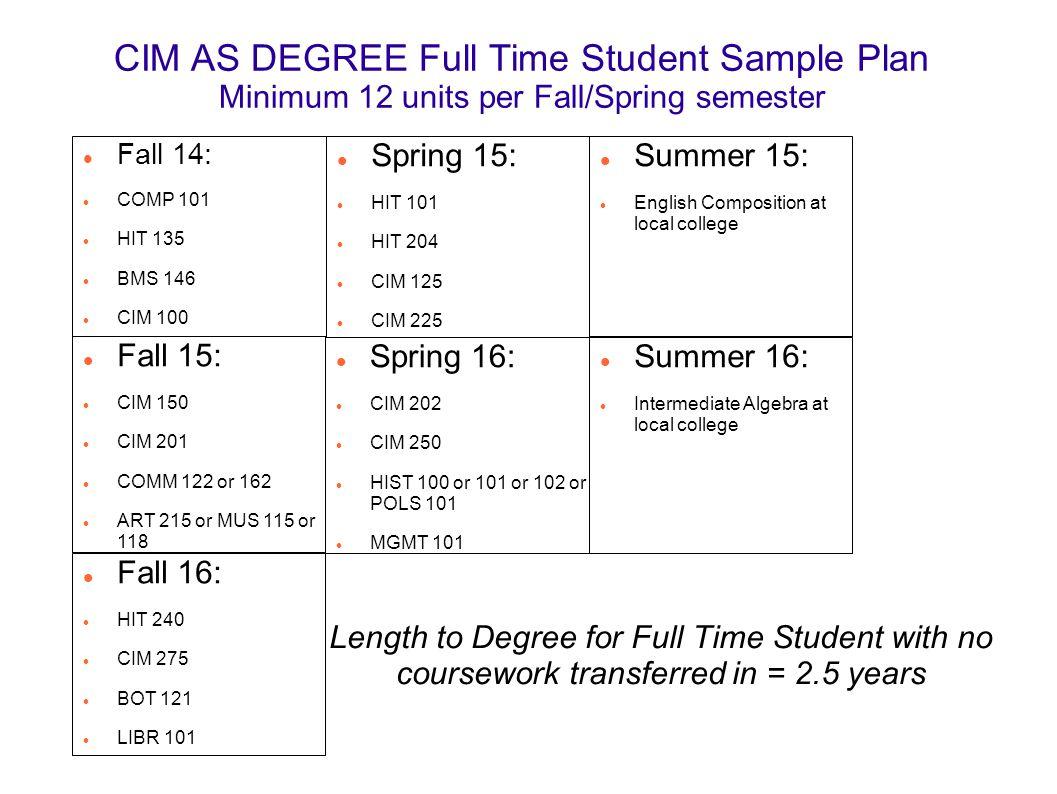 CIM AS DEGREE Full Time Student Sample Plan Minimum 12 units per Fall/Spring semester