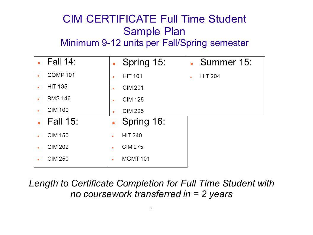 CIM CERTIFICATE Full Time Student