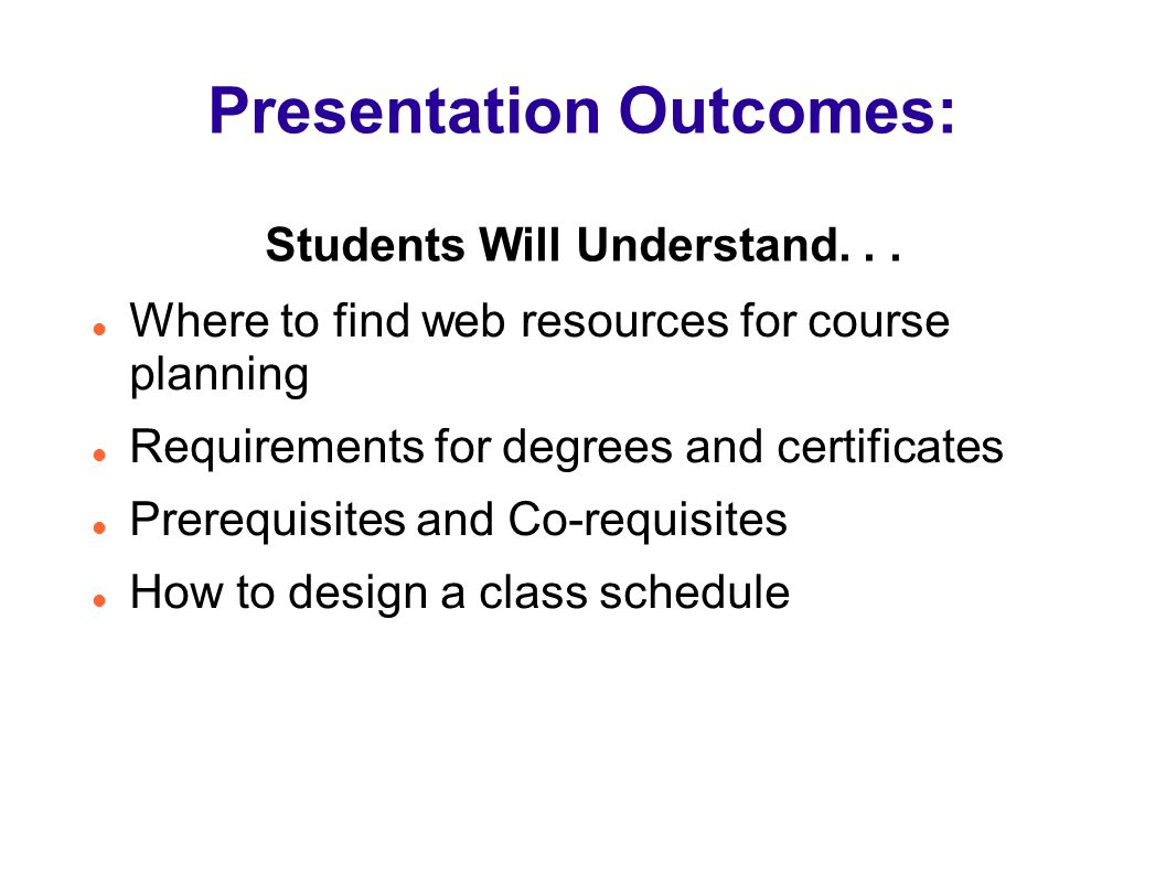 Presentation Outcomes: Students Will Understand. . .