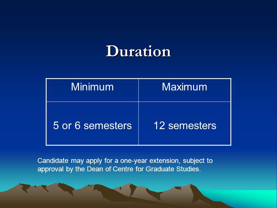 Duration Minimum Maximum 5 or 6 semesters 12 semesters