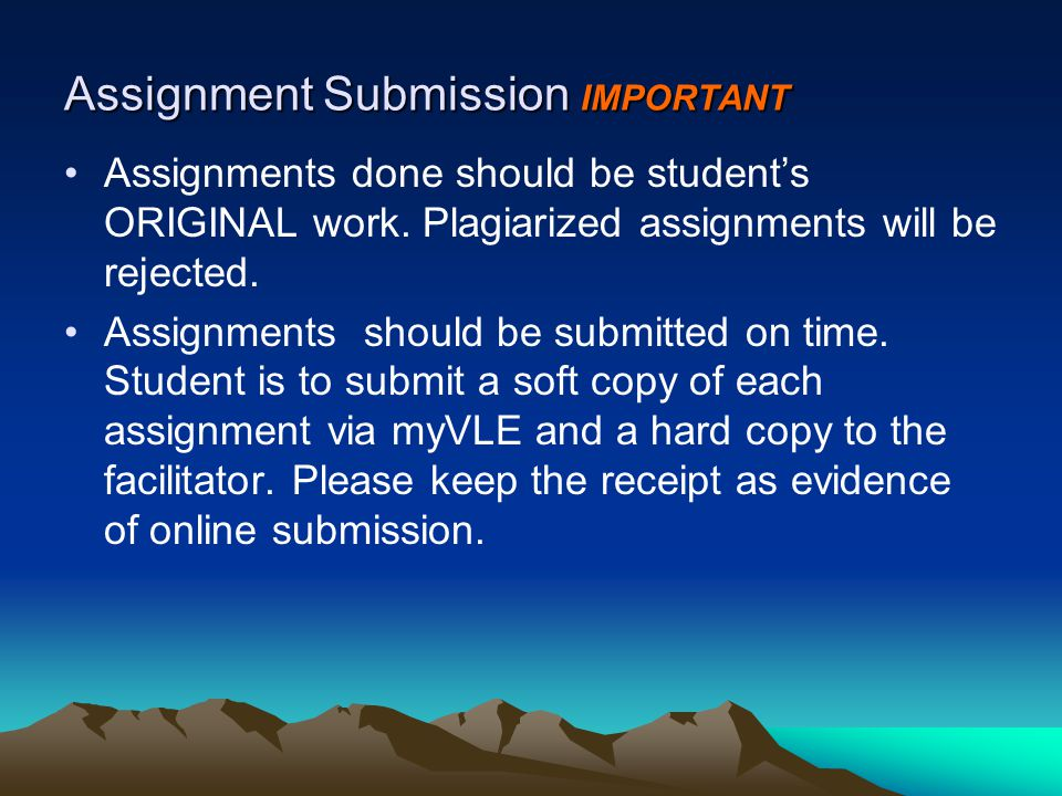 Assignment Submission IMPORTANT