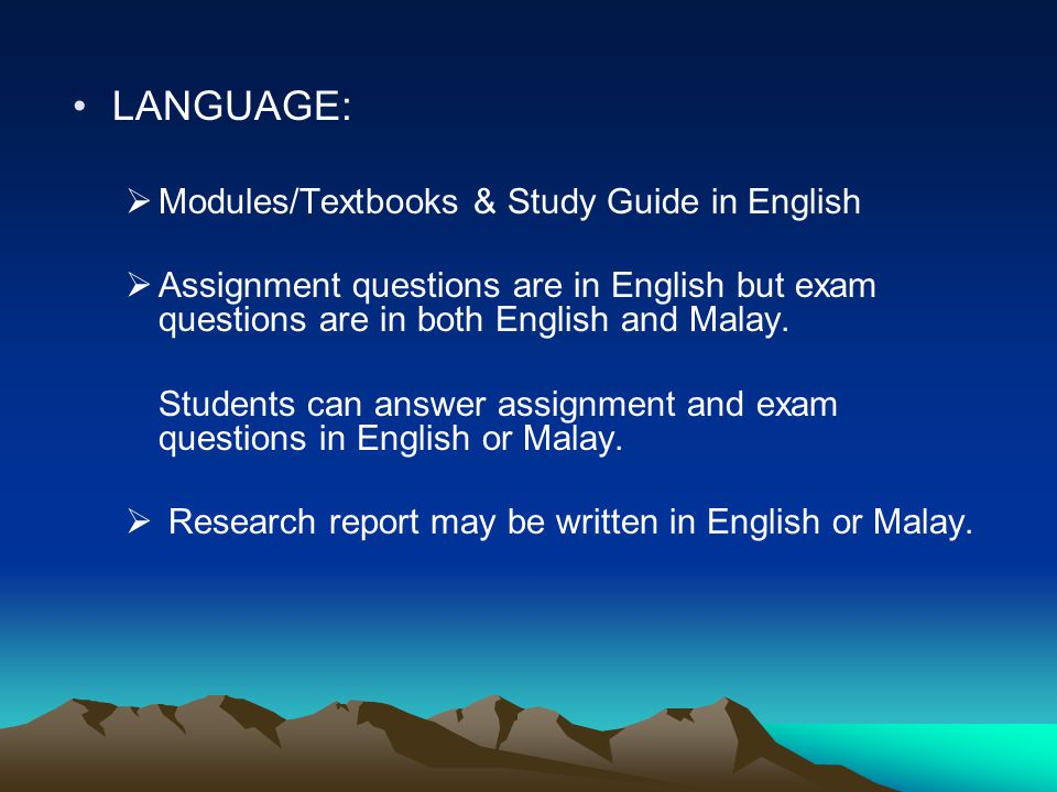LANGUAGE: Modules/Textbooks & Study Guide in English