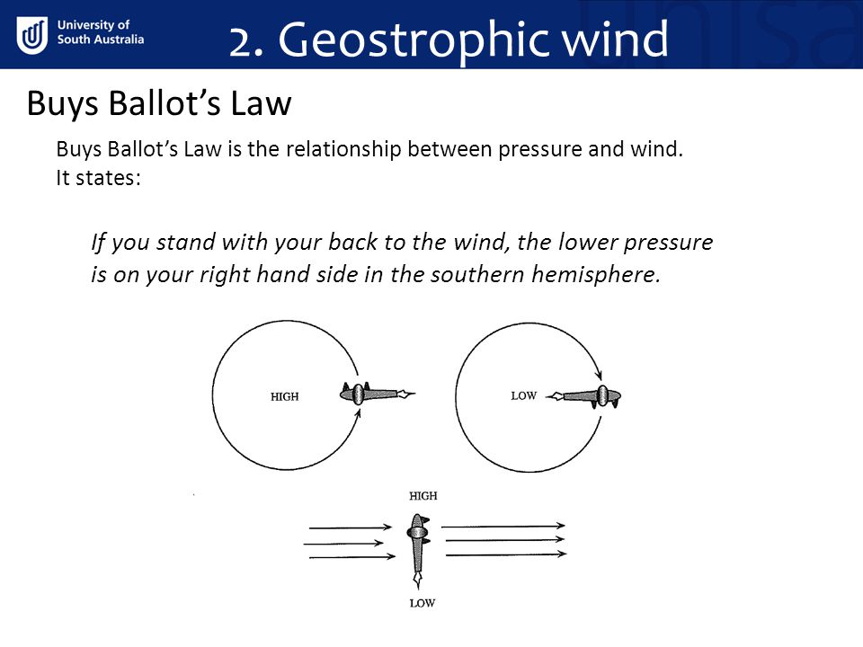 2. Geostrophic wind Buys Ballot's Law