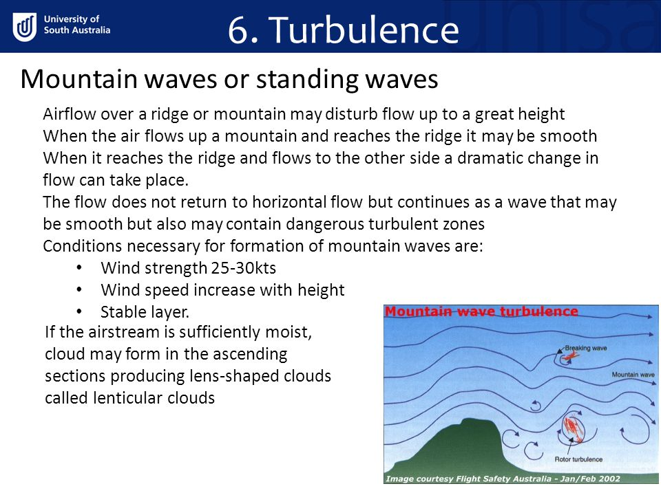 6. Turbulence Mountain waves or standing waves