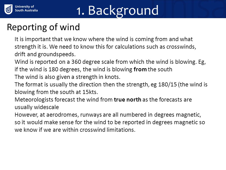 1. Background Reporting of wind