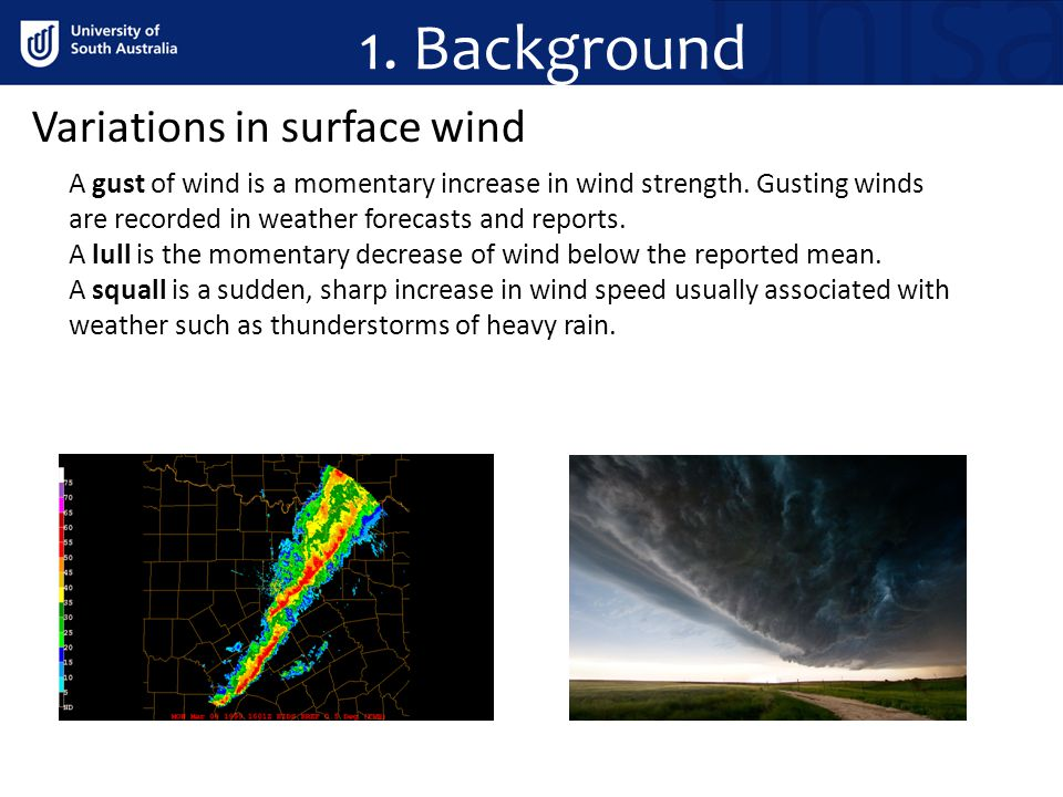 1. Background Variations in surface wind