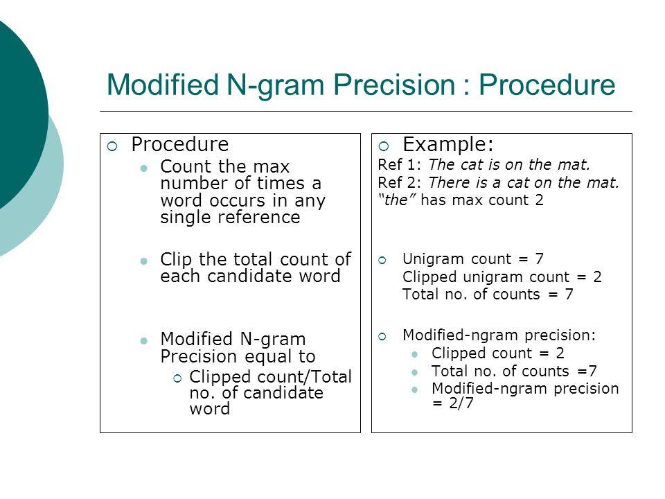 Modified N-gram Precision : Procedure