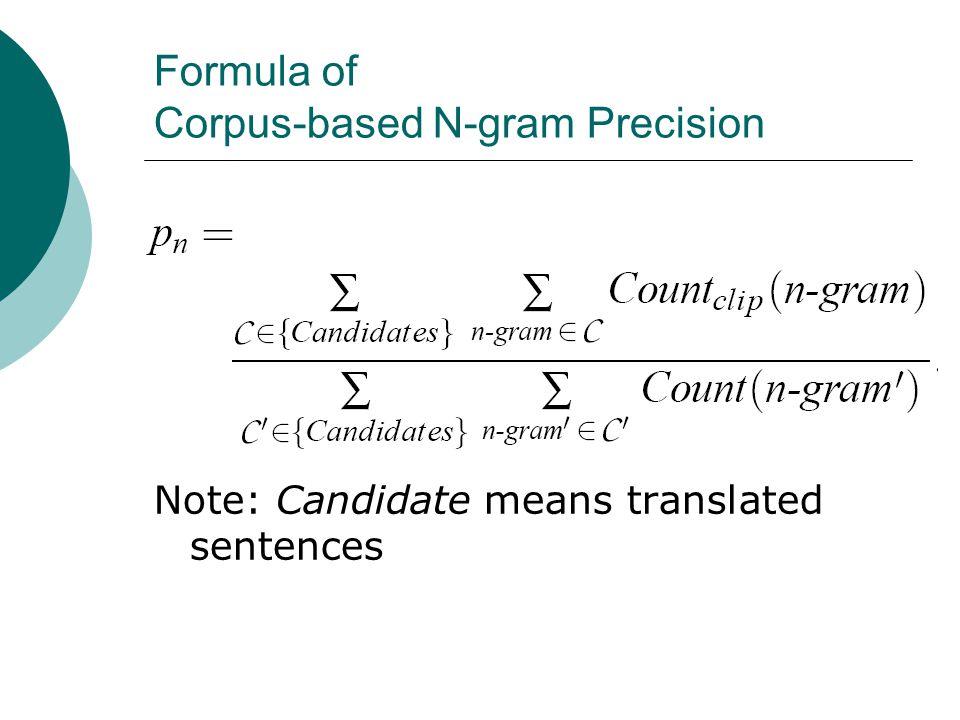 Formula of Corpus-based N-gram Precision