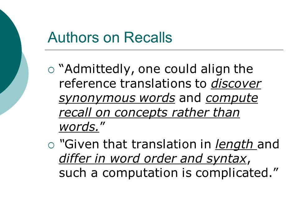 Authors on Recalls