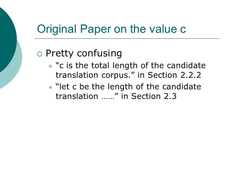 Original Paper on the value c