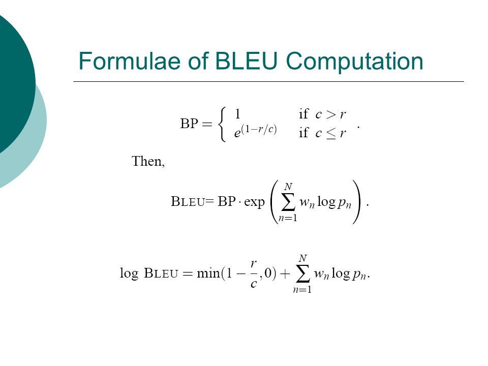Formulae of BLEU Computation