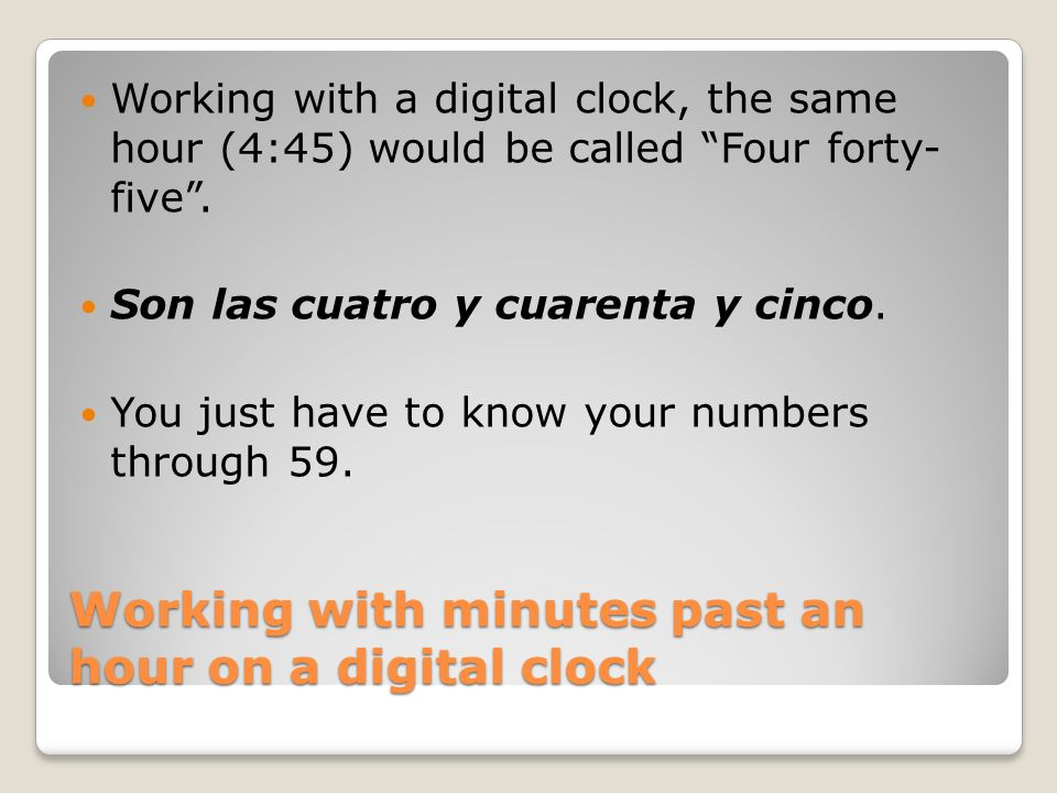 Working with minutes past an hour on a digital clock