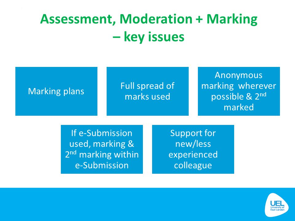 Assessment, Moderation + Marking – key issues