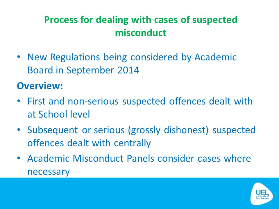 Process for dealing with cases of suspected misconduct