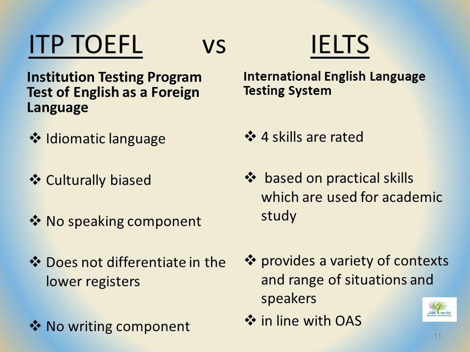 ITP TOEFL vs IELTS International English Language Testing System. Institution Testing Program Test of English as a Foreign Language.