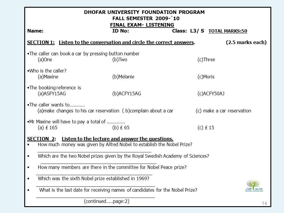 DHOFAR UNIVERSITY FOUNDATION PROGRAM FALL SEMESTER 2009-`10